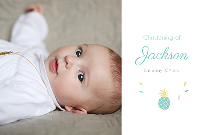Christening Invitations Pineapple photo green finition