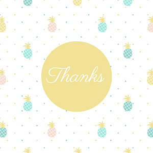 Pineapple green baby thank you cards