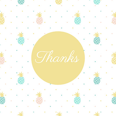 Baby Thank You Cards Pineapple green finition