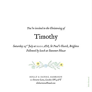 Christening Invitations Rustic floral green