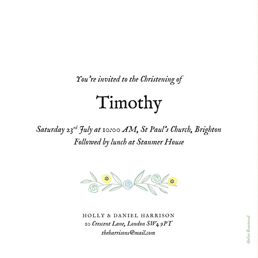 Christening Invitations Rustic floral green - Page 2
