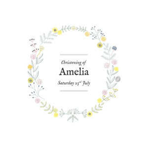 Christening Invitations Rustic floral white