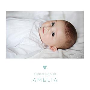 Lovely heart blue christening invitations
