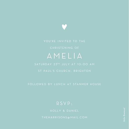 Christening Invitations Lovely heart blue