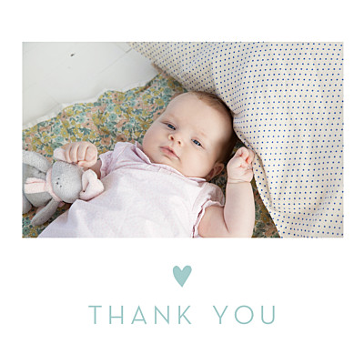 Baby Thank You Cards Lovely heart blue finition