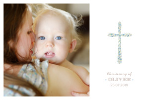 Christening Invitations Liberty cross landscape blue