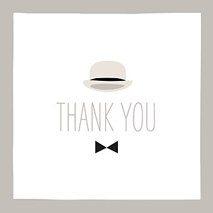 Dandy taupe brown baby thank you cards