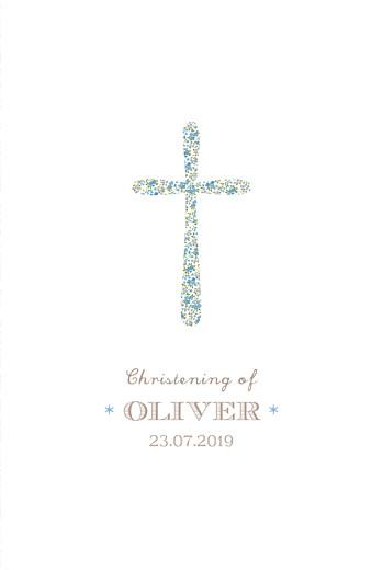 Christening Menus Liberty cross blue