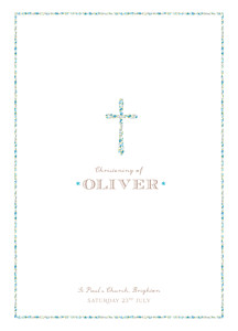Liberty cross blue christening order of service booklets