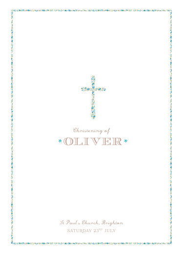 Christening Order of Service Booklets Liberty cross blue - Page 1