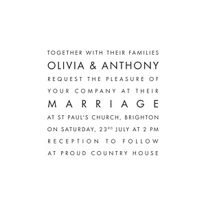 White modern white wedding invitations