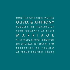 No photos modern peacock blue wedding invitations