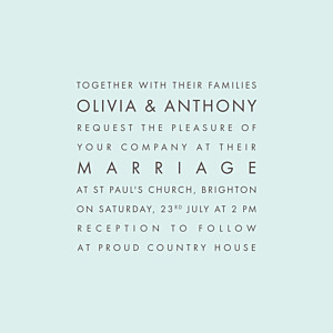 Modern light green green wedding invitations