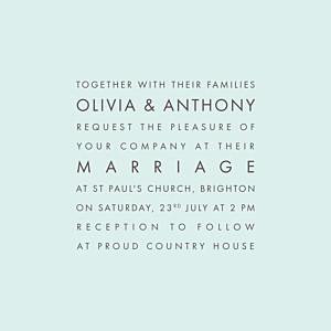 Modern light green blue wedding invitations