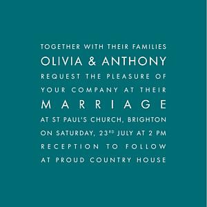 Modern (small) peacock blue wedding invitations