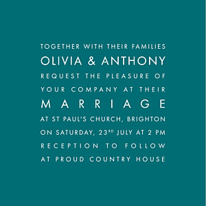 Modern (small) peacock blue traditional wedding invitations