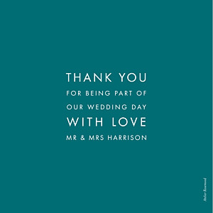 Modern peacock blue le collectif  wedding thank you cards