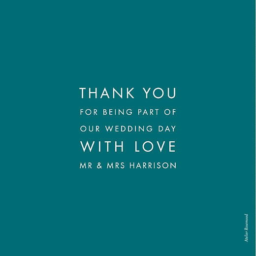 Wedding Thank You Cards Modern peacock blue