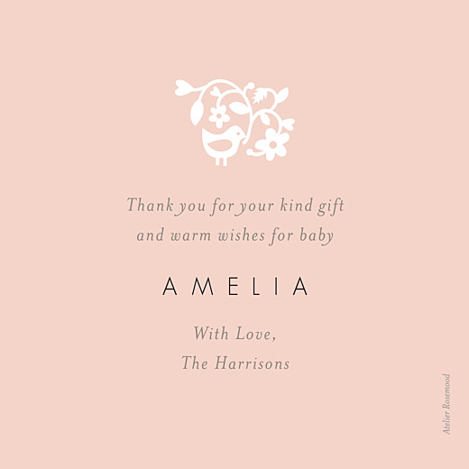 Baby Thank You Cards Pretty pastel pink