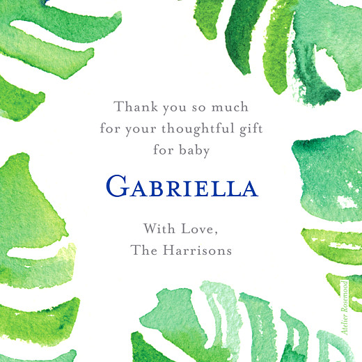 Baby Thank You Cards Acapulco white & green