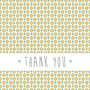 Baby Thank You Cards Capri mustard yellow