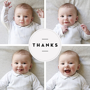 Chic medallion white baby thank you cards