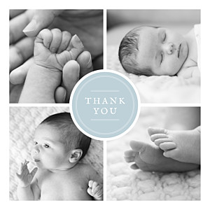 Medallion blue baby thank you cards