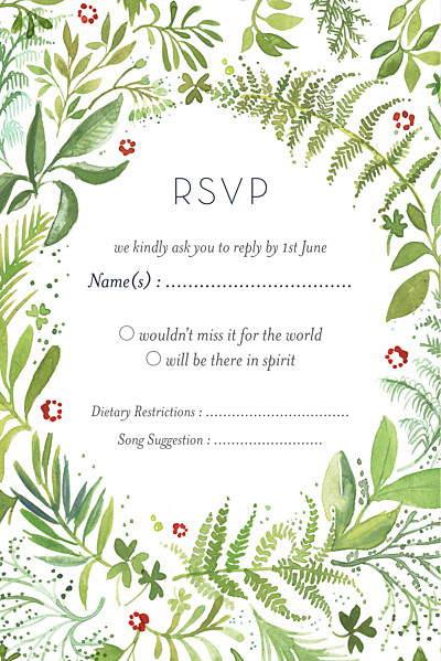 RSVP Cards Forest whisper green finition