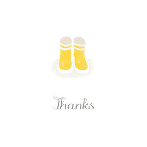 Wellies yellow beige baby thank you cards