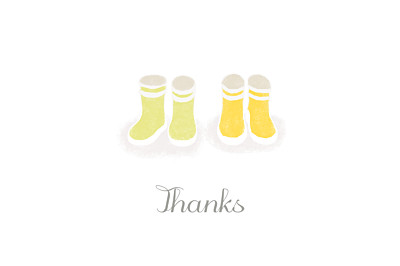 Baby Thank You Cards Wellies (twins) yellow finition
