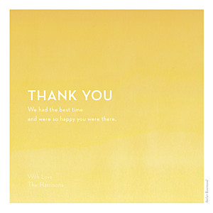 Wedding Thank You Cards Watercolour yellow