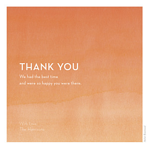 Watercolour orange orange wedding thank you cards