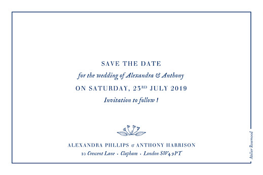 Save The Dates Natural chic blue
