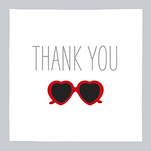 Sweetheart grey & red marion bizet baby thank you cards