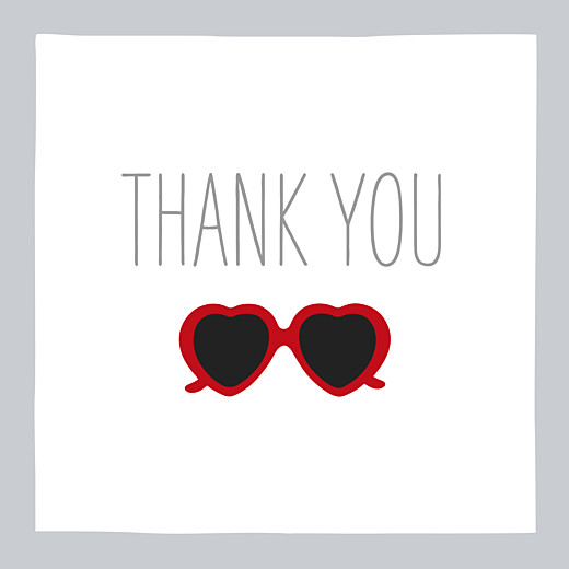 Baby Thank You Cards Sweetheart grey & red