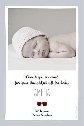 Baby Thank You Cards Sweetheart (photo) grey & red