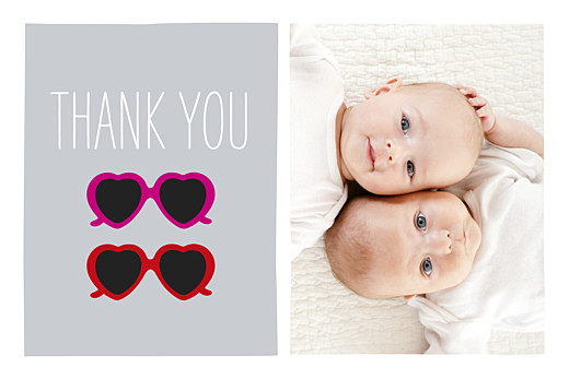 Baby Thank You Cards Sweetheart (twins) red & pink