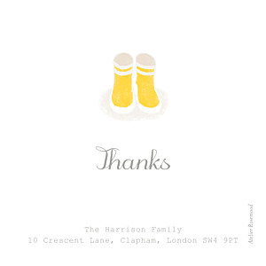Wellies (photo) yellow christening baby thank you cards