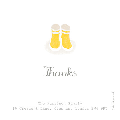 Baby Thank You Cards Wellies (photo) yellow finition
