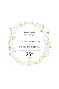 Touch of floral (small) white wedding invitations
