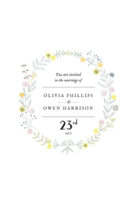 Wedding Invitations Touch of floral (small) white