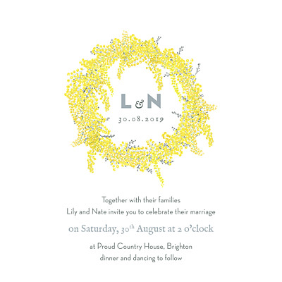 Wedding Invitations Mimosa (square) yellow finition