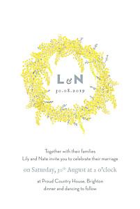 Rustic mimosa yellow wedding invitations