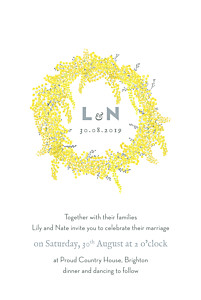 Mimosa yellow yellow wedding invitations