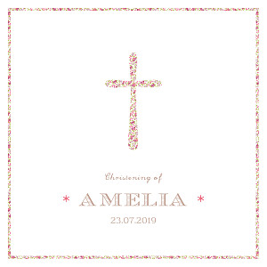 Liberty cross pink christening invitations