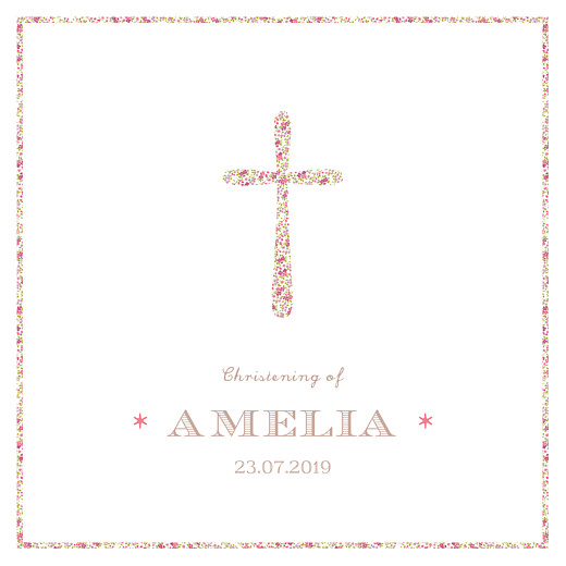 Christening Invitations Liberty cross pink