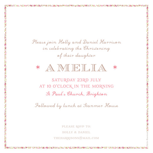Christening Invitations Liberty cross pink - Page 2