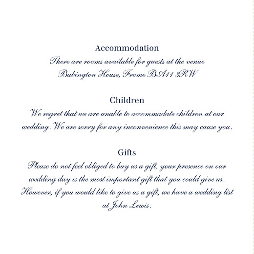 Guest Information Cards Nautical blue