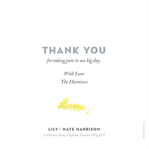Mimosa yellow wedding thank you cards