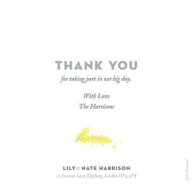 Wedding Thank You Cards Mimosa yellow finition